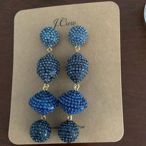 J. Crew Blue Jeweled Drop Chandelier Earrings